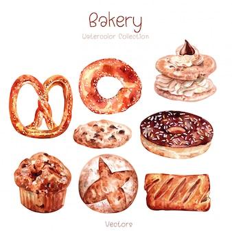 Piekarnia ilustracja do projektowania, stylu przypominającym akwarele