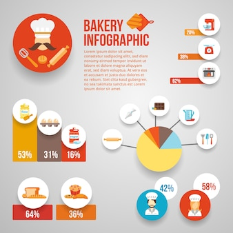 Piekarnia infographic szablonu set