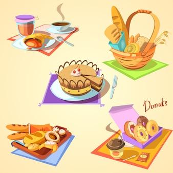 Piekarnia kreskówka ustawiająca z retro stylowym słodkim jedzeniem