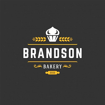 Piekarnia logo lub odznaka rocznika babeczki wektorowa ilustracyjna sylwetka dla piekarnia sklepu