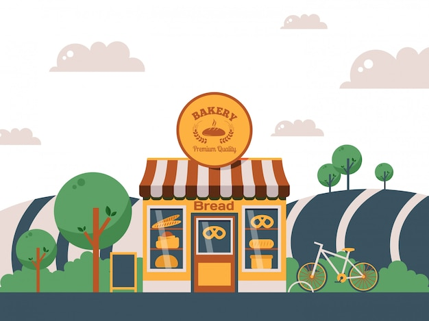 Piekarnia lokalny sklep, fasada małego budynku w krajobrazie letnim