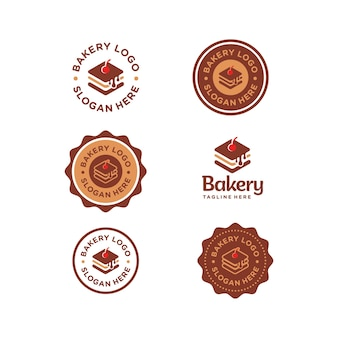 Piekarnia proste słodkie logo zestaw kolekcja premium