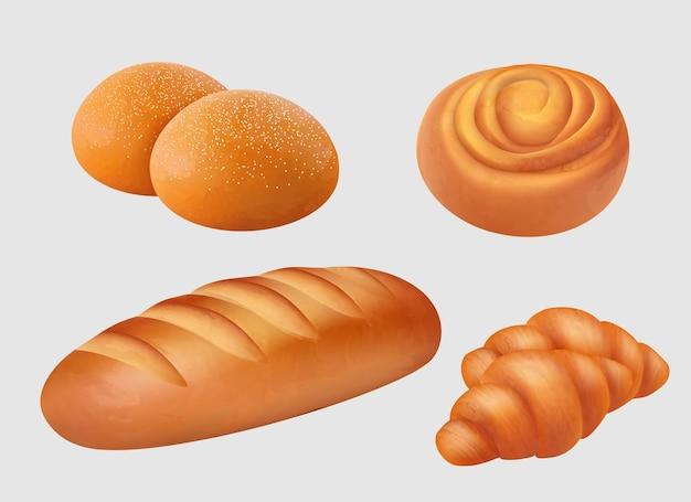 Piekarnia realistyczna. śniadaniowe wypieki spożywcze, bochenek, bułki, bułeczki, ilustracje produktów chleba kromka precelka.