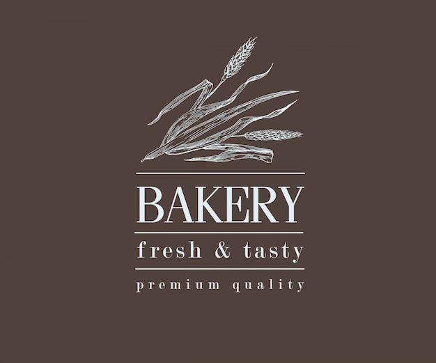 Piekarnia retro chleb lub piwo logo z pszenicy, vintage