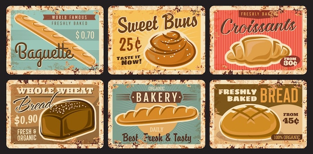 Piekarnia sklep i ciasta vintage talerze z chlebem i bułkami, wektor zardzewiałe metalowe znaki. piekarnia pieczone bochenki chleba i bajgle ze słodkich wypieków, bagietka i rogalik cukrowy, plakaty w stylu vintage