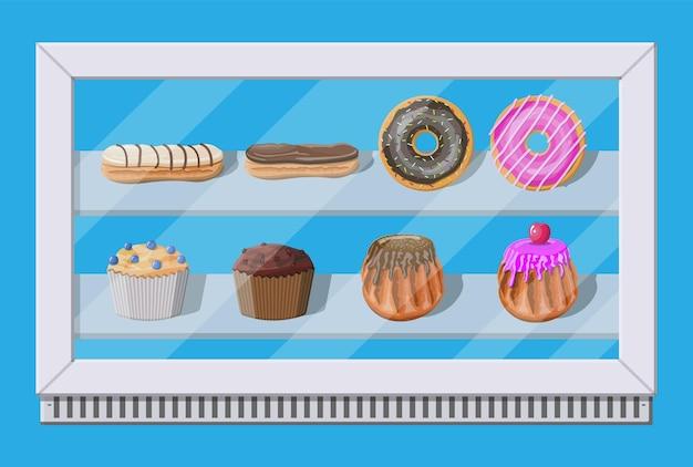 Piekarnia sklepowa zamrażarka witrynowa z ciastami i ciastkami. pączek, babeczka, babeczka i ekler. ilustracja wektorowa w stylu płaski