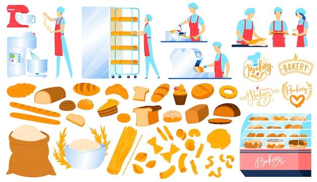 Piekarnia, sprzęt cukierniczy, chleb jedzenie na białym tle zestaw ikon ilustracji.