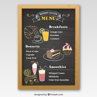 Piekarnia tablica menu