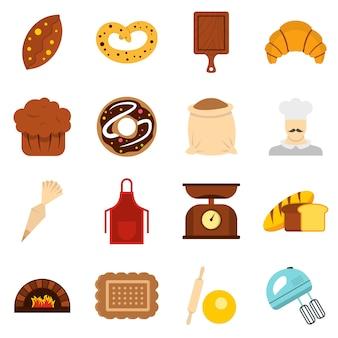 Piekarnia ustawić płaskie ikony