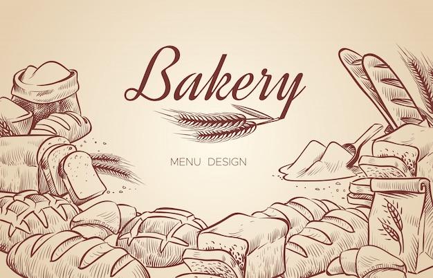 Piekarnia w tle. ręcznie rysowane gotowania chleba piekarnia bajgiel chleby ciasto piec pieczenie kulinarne menu projekt