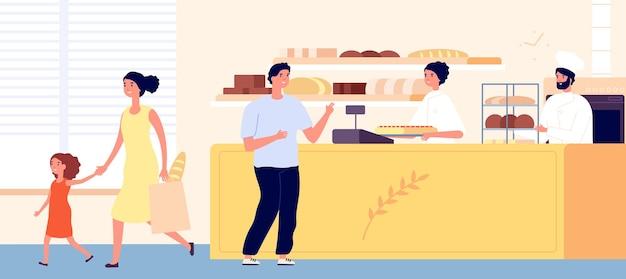 Piekarnia. wnętrze sklepu mały chleb, kobieta mężczyzna kupić przekąskę. płaskie postacie klientów piekarzy. ilustracja wektorowa firmy sprzedawca żywności. sklep z chlebem i piekarnią z klientami