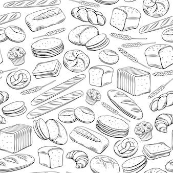 Piekarnia wzór. zarys tła żytniego, pełnoziarnistego i pszennego, precel, muffin, pita, ciabatta, rogalik, bajgiel, chleb tostowy, francuska bagietka do projektowania menu piekarni.