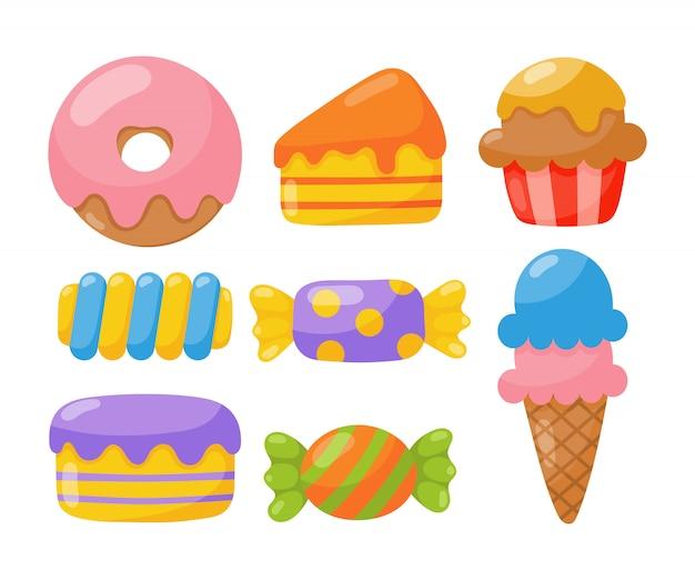 Piekarnia z wyrobami cukierniczymi i słodyczami na białym tle.