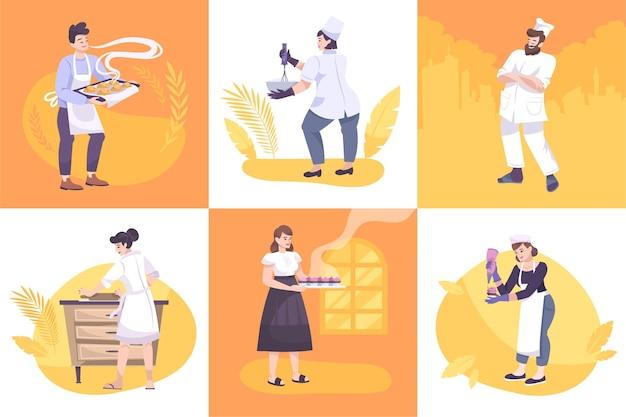 Piekarnia zestaw sześciu kwadratowych ilustracji