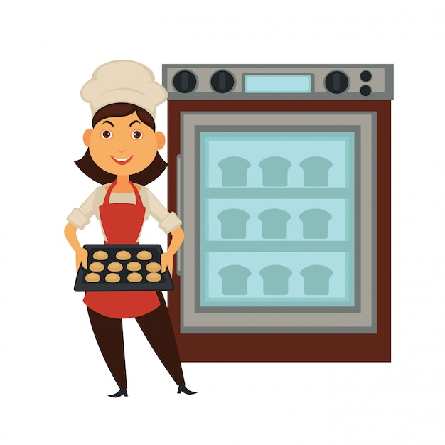 Piekarniana kobieta w piekarnia sklepie piec chleb w piekarnika wektorowym odosobnionym piekarnianym zawodu ikony ludzie