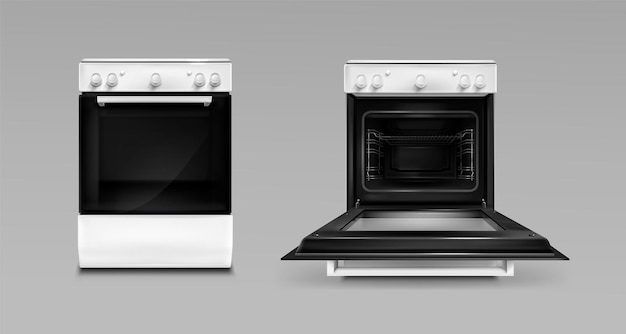Piekarnik, elektryczne urządzenia kuchenne, otwarty lub zamknięty piec w kolorze białym, widok z przodu.