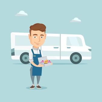 Piekarz dostarcza tortową wektorową ilustrację.