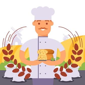 Piekarz trzyma chleb, profesjonalny kucharz w mundurze szefa kuchni