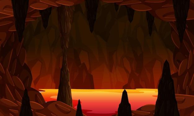Piekielna ciemna jaskinia ze sceną lawy