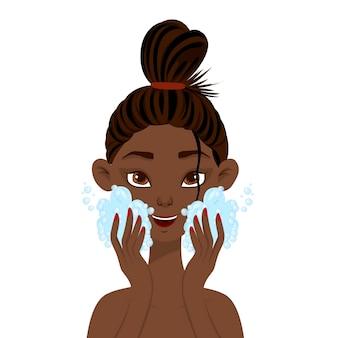 Piękna afrykańska kobieta mycia twarzy pianką. styl kreskówki.