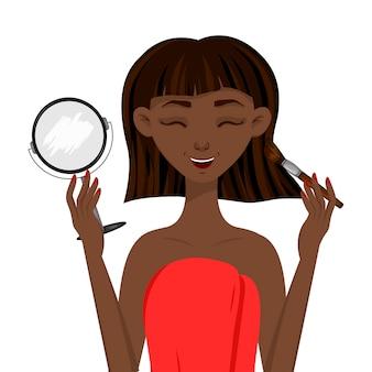 Piękna afrykańska kobieta powoduje rumieniec przed lustrem. styl kreskówkowy.