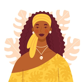 Piękna afrykańska kobieta z długimi kręconymi włosami w żółtej sukience iz szalikiem na głowie. komplet biżuterii na dziewczynę. postać w stylu płaski z tłem liści monstera