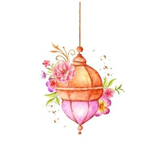 Piękna akwarela islamska latarnia z kwiatem i liśćmi