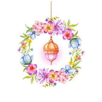Piękna akwarela islamska wisząca latarnia z kwiecistą ramą