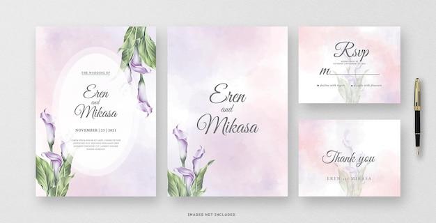 Piękna akwarela karta zaproszenie na ślub z kwiatem lilii