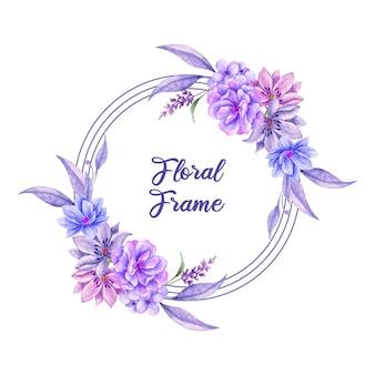Piękna akwarela kwiatowy rama z fioletowym kwiatem