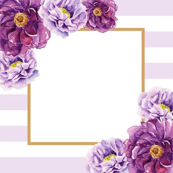 Piękna akwarela kwiatowy rama z tłem paski