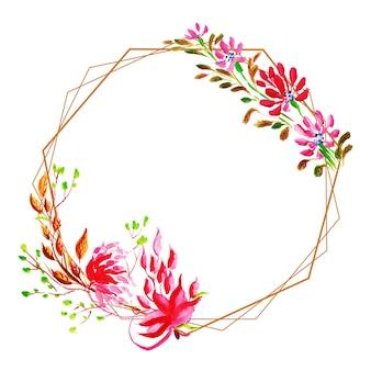 Piękna akwarela kwiatowy rama