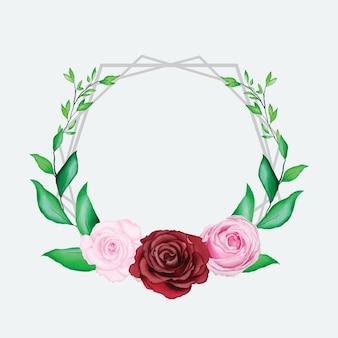Piękna akwarela kwiatowy ramki