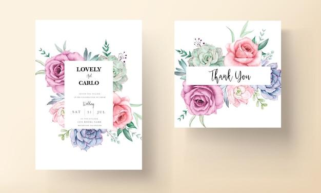 Piękna akwarela kwiatowy zaproszenie na ślub z różami i sukulentami