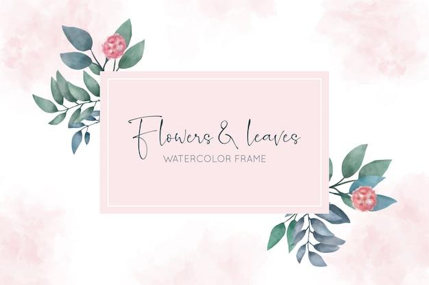 Piękna akwarela rama z kwiatami i liśćmi