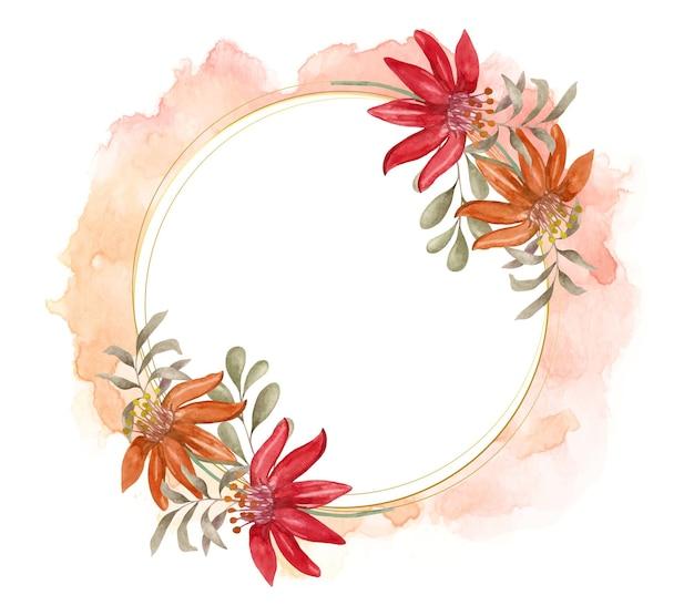 Piękna akwarela urocza kolorowa wiosenna kwiecista rama