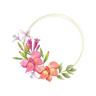 Piękna akwarela urocza wiosenna kwiecista rama