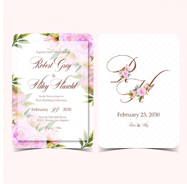 Piękna akwarela wesele kwiatowy karta zaproszenie ze wspaniałym monogramem