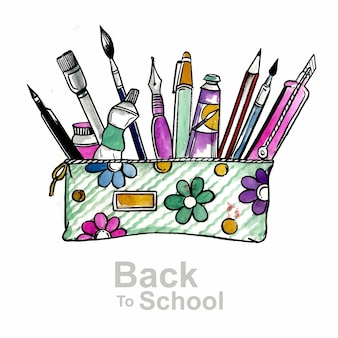 Piękna akwarela z powrotem do ilustracji szkolnej
