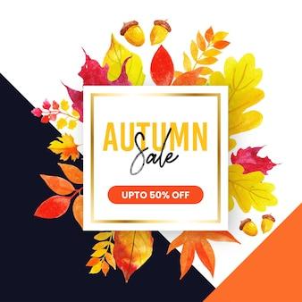 Piękna akwarelowa jesienna aranżacja wyprzedaży uniwersalna ramka na banery i broszury online