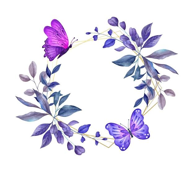 Piękna akwarelowa wiosenna kwiecista ramka z pięknymi motylami