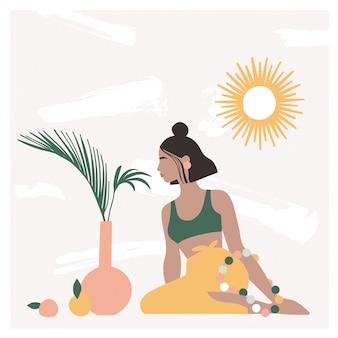 Piękna artystyczna kobieta siedzi na podłodze w nowoczesnym wnętrzu z wazony, liście palmowe, lustro.