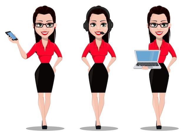 Piękna asystentka biurowa w ubraniach w stylu biurowym