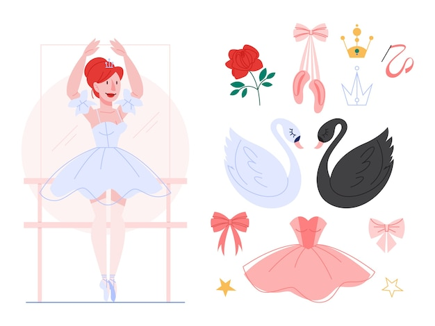 Piękna balerina wykonuje taniec, kobieta praktykuje w sukni baletowej i butach. zestaw baletowy, czarno-biały łabędź, tiara. ilustracja w stylu.