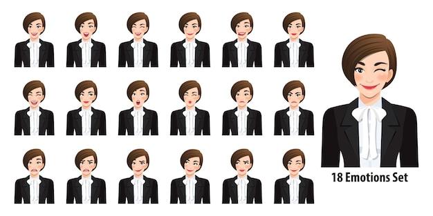 Piękna biznesowa kobieta w czarnym garniturze z różnymi wyrazami twarzy na białym tle w stylu cartoon charakter ilustracji