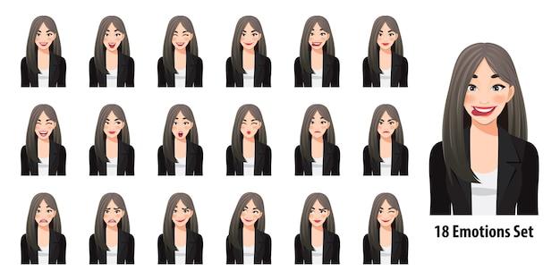 Piękna biznesowa kobieta w czarnym garniturze z różnymi wyrazami twarzy na białym tle w stylu postaci z kreskówki