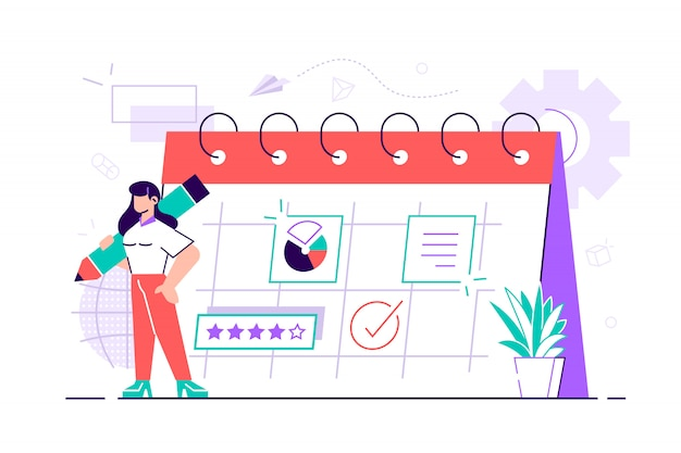 Piękna bizneswoman planuje swoją pracę. nowoczesna koncepcja planowania biznesowego, aktualności i wydarzeń, przypomnienia i harmonogramu. kobieta w kalendarzu z dużym piórem. ilustracja stylu płaska konstrukcja.