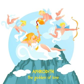 Piękna bogini miłości afrodyty rozkładana na wierzchu
