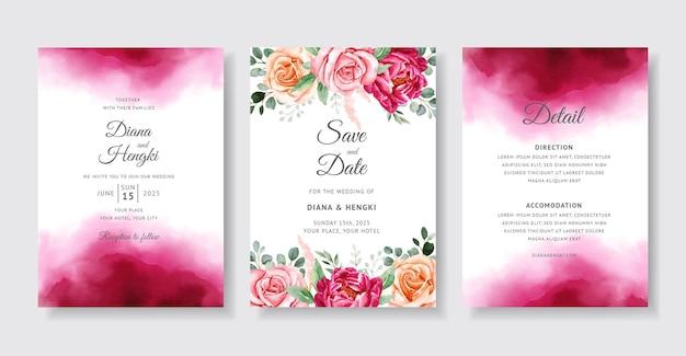 Piękna bordowa akwarela na karcie zaproszenie na ślub