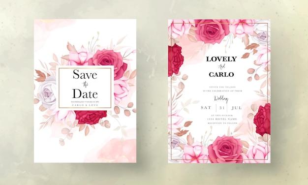 Piękna bordowa i brązowa kwiecista karta zaproszenie na ślub